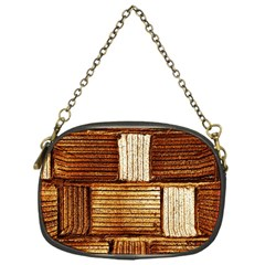Brown Wall Tile Design Texture Pattern Chain Purses (One Side)