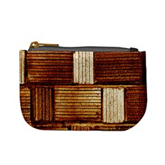 Brown Wall Tile Design Texture Pattern Mini Coin Purses