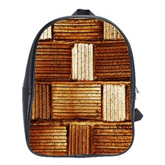 Brown Wall Tile Design Texture Pattern School Bags(Large)