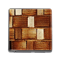 Brown Wall Tile Design Texture Pattern Memory Card Reader (Square)