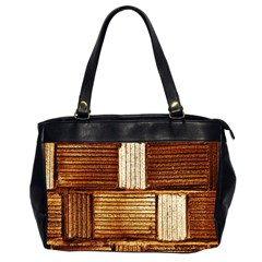 Brown Wall Tile Design Texture Pattern Office Handbags (2 Sides)