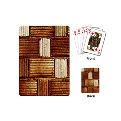 Brown Wall Tile Design Texture Pattern Playing Cards (Mini)