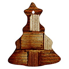 Brown Wall Tile Design Texture Pattern Christmas Tree Ornament (Two Sides)