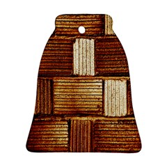 Brown Wall Tile Design Texture Pattern Bell Ornament (Two Sides)