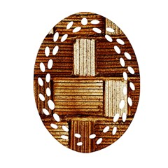 Brown Wall Tile Design Texture Pattern Oval Filigree Ornament (Two Sides)