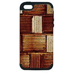 Brown Wall Tile Design Texture Pattern Apple iPhone 5 Hardshell Case (PC+Silicone)