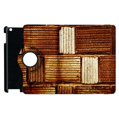 Brown Wall Tile Design Texture Pattern Apple iPad 2 Flip 360 Case