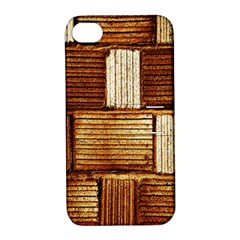 Brown Wall Tile Design Texture Pattern Apple iPhone 4/4S Hardshell Case with Stand