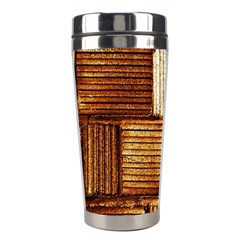 Brown Wall Tile Design Texture Pattern Stainless Steel Travel Tumblers