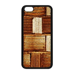 Brown Wall Tile Design Texture Pattern Apple Iphone 5c Seamless Case (black)