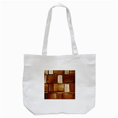 Brown Wall Tile Design Texture Pattern Tote Bag (white)