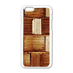 Brown Wall Tile Design Texture Pattern Apple Iphone 6/6s White Enamel Case
