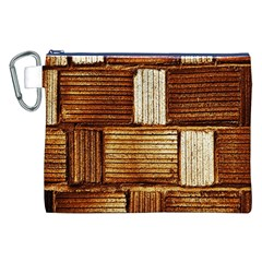 Brown Wall Tile Design Texture Pattern Canvas Cosmetic Bag (XXL)
