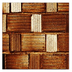 Brown Wall Tile Design Texture Pattern Large Satin Scarf (square)