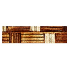 Brown Wall Tile Design Texture Pattern Satin Scarf (oblong)