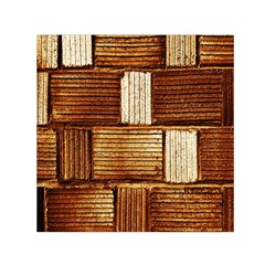 Brown Wall Tile Design Texture Pattern Small Satin Scarf (square)