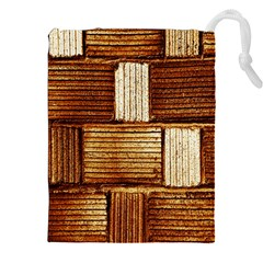Brown Wall Tile Design Texture Pattern Drawstring Pouches (xxl)