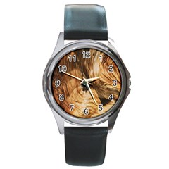 Brown Beige Abstract Painting Round Metal Watch