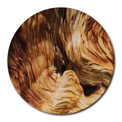 Brown Beige Abstract Painting Round Mousepads