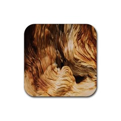 Brown Beige Abstract Painting Rubber Square Coaster (4 pack)