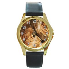 Brown Beige Abstract Painting Round Gold Metal Watch
