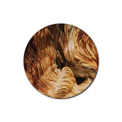 Brown Beige Abstract Painting Rubber Coaster (round)