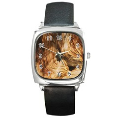 Brown Beige Abstract Painting Square Metal Watch