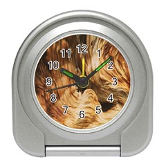 Brown Beige Abstract Painting Travel Alarm Clocks