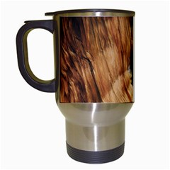 Brown Beige Abstract Painting Travel Mugs (white)