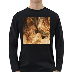 Brown Beige Abstract Painting Long Sleeve Dark T-Shirts