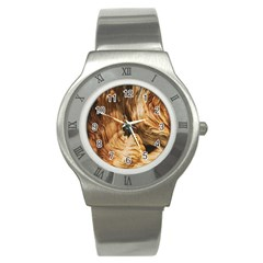 Brown Beige Abstract Painting Stainless Steel Watch