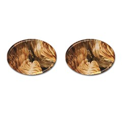 Brown Beige Abstract Painting Cufflinks (oval)