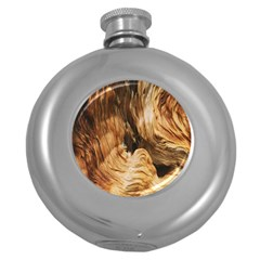 Brown Beige Abstract Painting Round Hip Flask (5 oz)