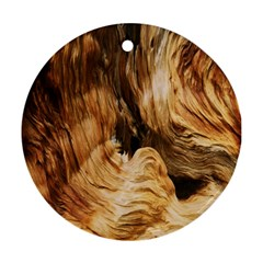 Brown Beige Abstract Painting Round Ornament (two Sides)