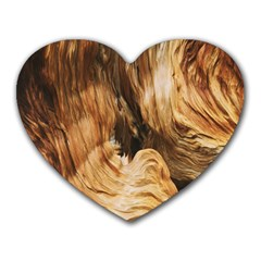 Brown Beige Abstract Painting Heart Mousepads