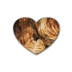 Brown Beige Abstract Painting Heart Coaster (4 pack)