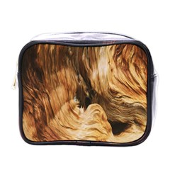 Brown Beige Abstract Painting Mini Toiletries Bags