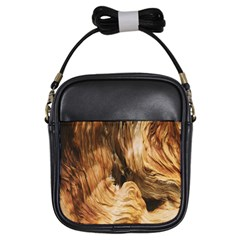 Brown Beige Abstract Painting Girls Sling Bags