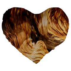 Brown Beige Abstract Painting Large 19  Premium Heart Shape Cushions