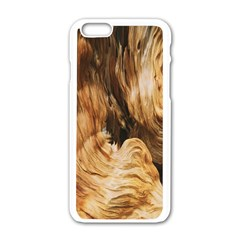 Brown Beige Abstract Painting Apple iPhone 6/6S White Enamel Case