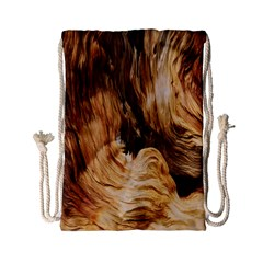 Brown Beige Abstract Painting Drawstring Bag (small)