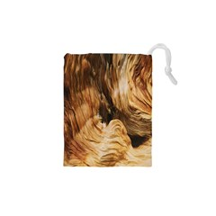 Brown Beige Abstract Painting Drawstring Pouches (XS)