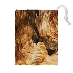 Brown Beige Abstract Painting Drawstring Pouches (Extra Large)