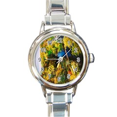 Bridge River Forest Trees Autumn Round Italian Charm Watch