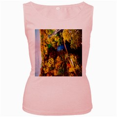 Bridge River Forest Trees Autumn Women s Pink Tank Top
