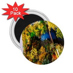Bridge River Forest Trees Autumn 2.25  Magnets (10 pack)