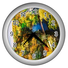 Bridge River Forest Trees Autumn Wall Clocks (Silver)