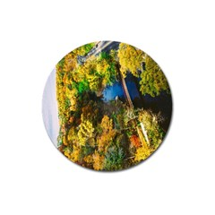 Bridge River Forest Trees Autumn Magnet 3  (Round)