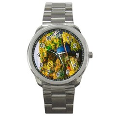 Bridge River Forest Trees Autumn Sport Metal Watch
