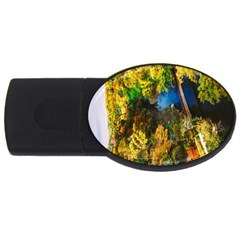 Bridge River Forest Trees Autumn USB Flash Drive Oval (4 GB)